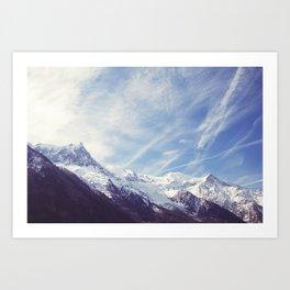 Mountain Mont Blanc view from Chamonix, France Art Print