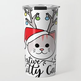 Festive Kitty Cat with Reindeer Antlers and Santa Hat design Travel Mug