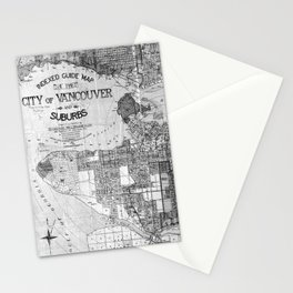 Vintage Map of Vancouver Canada (1920) BW Stationery Cards