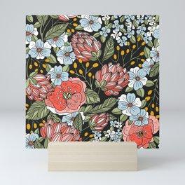 Retro Vintage Floral Arrangement On Black Background Mini Art Print