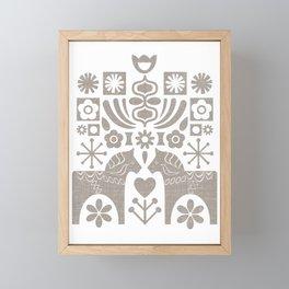 Swedish Folk Art - Warm Gray Framed Mini Art Print
