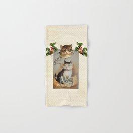 Merry Catmas vintage cat xmas illustration Hand & Bath Towel