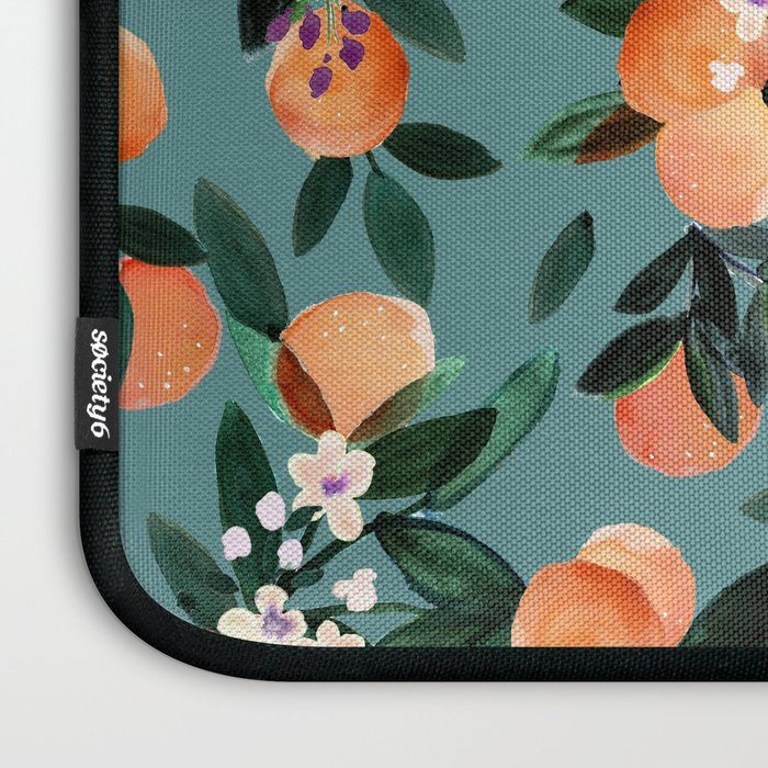 Dear Clementine - oranges teal by Crystal Walen Laptop Sleeve