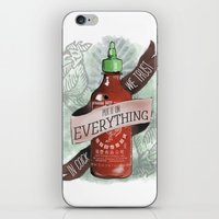 sriracha iPhone & iPod Skins featuring An Ode To Sriracha by Drunk Girl Designs