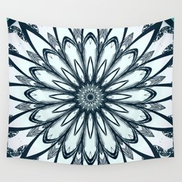 Black and White w/Teal Accent Mandala Wall Tapestry