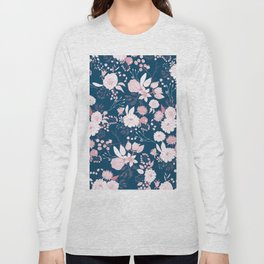 Elegant mauve pink white navy blue rustic floral Long Sleeve T-shirt