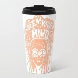 Open Your Mind in orange Travel Mug
