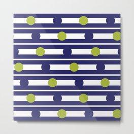 Geometric Stripe & Spot Green & Navy Blue Metal Print