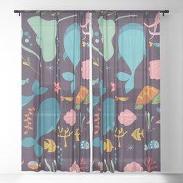 Sea creatures 001 Sheer Curtain