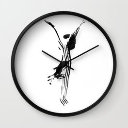 Black and white, minimalist, modern yoga pose illustration for yoga studio, yoga art, drawing, om Wall Clock