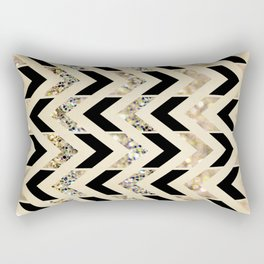 Black & Gold Glitter Herringbone Chevron on Nude Cream Rectangular Pillow