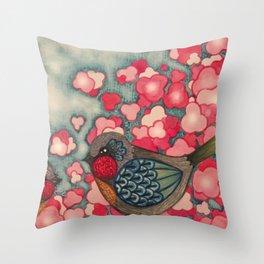 Blossom Birds Throw Pillow