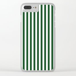 Original Forest Green and White Rustic Vertical Tent Stripes Clear iPhone Case