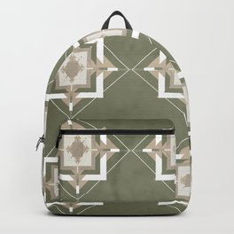 Sage Green and Taupe Mosaic Pattern Backpack