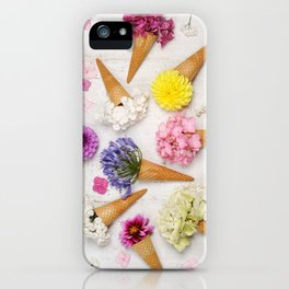 Ice cream cones with beautiful flowers iPhone Case