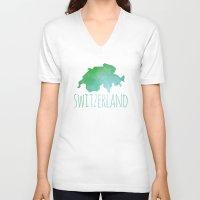 switzerland V-neck T-shirts featuring Switzerland by Stephanie Wittenburg