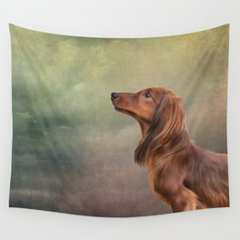 Dog breed long haired dachshund portrait oil painting Wall Tapestry