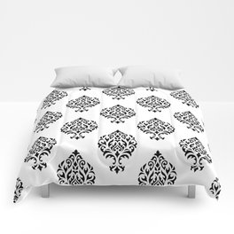 Orna Damask Pattern Black on White Comforters