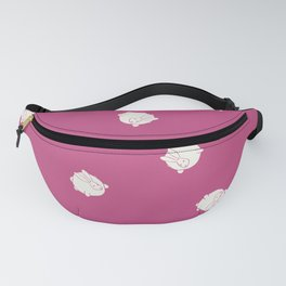 Round Bunny Pattern White Pink Fanny Pack