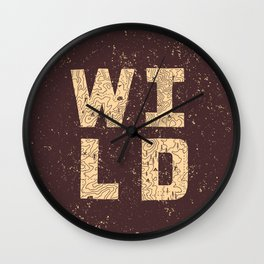 """""""Wild"""" Type with Topography Map (rust) Wall Clock"""