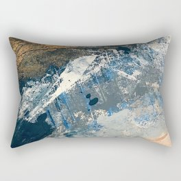 Wander [3]: a vibrant, colorful abstract in blues, pink, white, and gold Rectangular Pillow