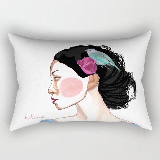 girl with tulip and bird Rectangular Pillow