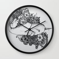 narwhal Wall Clocks featuring Narwhal by Isabel Peace