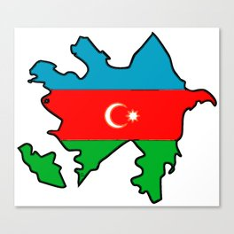 Azerbaijan Map with Azeri Azerbaijani Flag Canvas Print