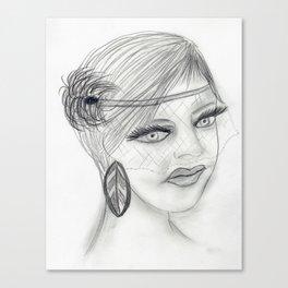 Veiled Deco Girl Canvas Print