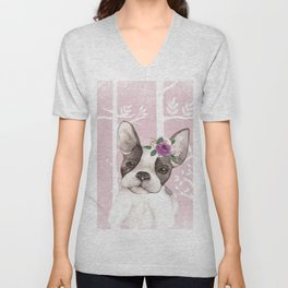 Animals in Forest - The little French Bulldog Unisex V-Neck