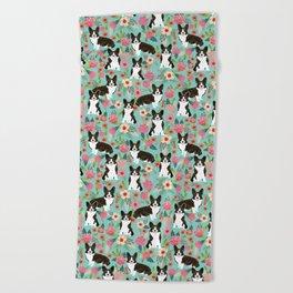 Brindle Cardigan Corgi Florals - cute corgi design, corgi owners will love this mint florals corgi Beach Towel