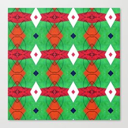 Colorful Pattern Green Red Orange Blue Canvas Print