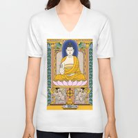 buddha V-neck T-shirts featuring Buddha by Panda Cool