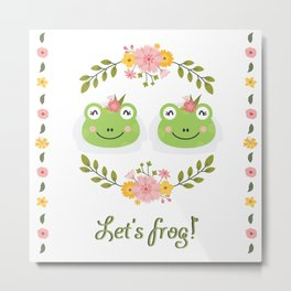 Let's frog! Funny lesbian frogs couple Metal Print