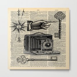 nautical compass dictionary print steampunk skeleton keys antique camera Metal Print