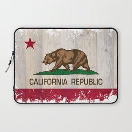 California Republic state Bear flag on wood Laptop Sleeve