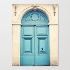 Paris door, pastel blue Canvas Print