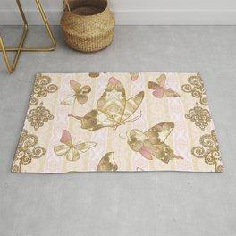 Fairytale Butterflies rose-gold-cream Rug