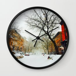 NYC @ Snow Time Wall Clock