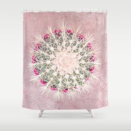 Cactus mandala - blush concrete Shower Curtain