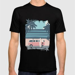 Surfer Graphic Beach Palm-Tree Camper-Van Art T-shirt