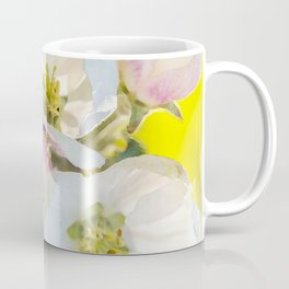 Close-up of Apple tree flowers on a vivid green background - Summer atmosphere Coffee Mug