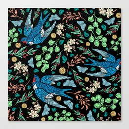 Blue Swifts and Butterflies In The Garden Canvas Print
