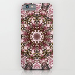 Pink spring blossoms, Floral mandala-style iPhone Case