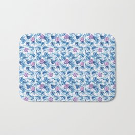 Ipomea Flower_ Morning Glory Floral Pattern Bath Mat