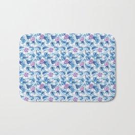 Ipomea Flower_ Morning Glory Floral Pattern Bath Mat