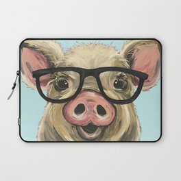 Cute Pig Painting, Farm Animal with Glasses Laptop Sleeve