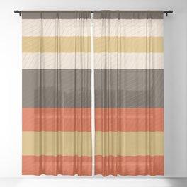 Retro Zigzag Geometric Pattern Sheer Curtain