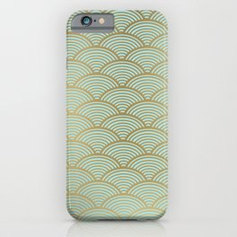 Japanese Art Prints: Seigaiha Wave, Geometric Art in Mint Green and Gold iPhone Case