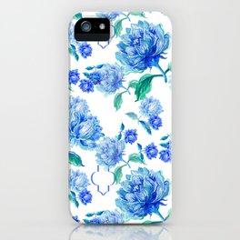Blue Watercolor Floral iPhone Case